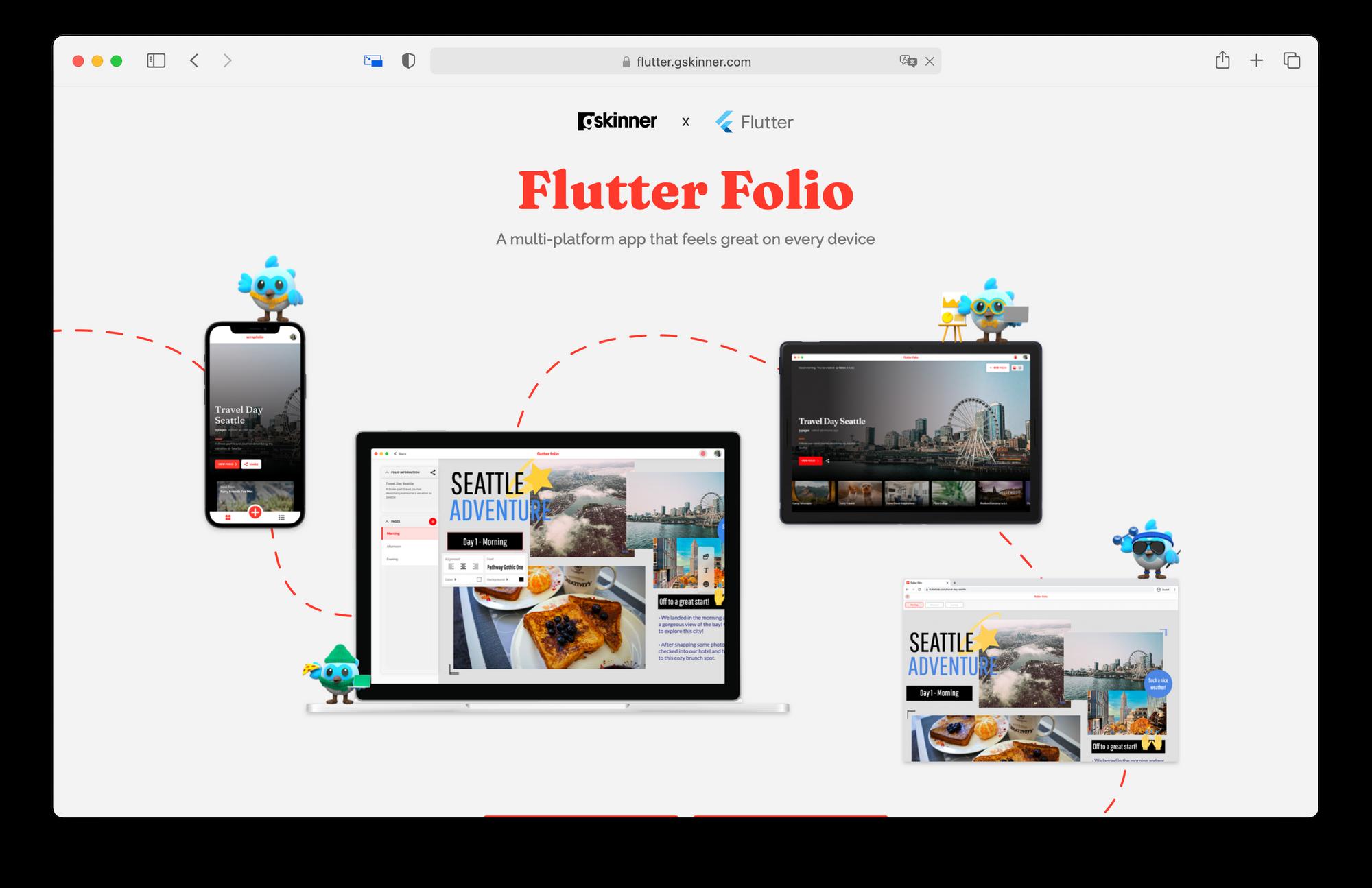 Flutter Folio - Illustration du site
