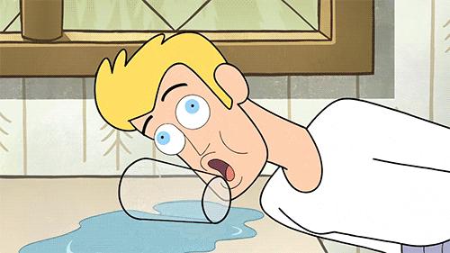 Gif représentant une animation d'un utilisateur ne sachant pas se servir d'un verre d'eau